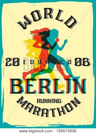 World marathon series retro poster. Berlin marathon running. Vintage custom typeface.