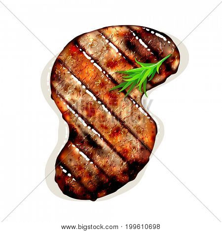 S-shape grilled beef steak with herb spices isolated on white background. 3D illustration