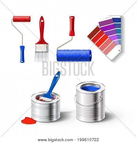Realistic set of paint tools - metal paint cans with red and blue color, bristle brush, roller brush and guide palette. 3D illustration