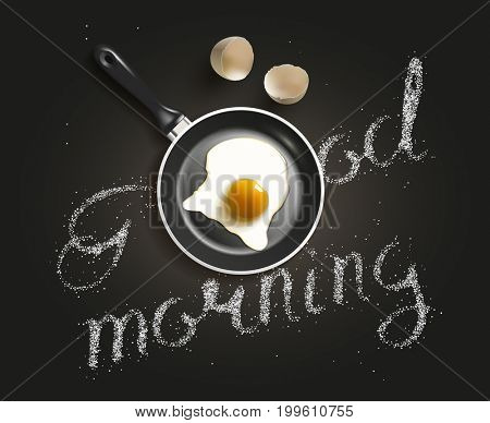 Fried egg in a frying pan with Good Morning salt lettering. Breackfast healthy background. 3D illustration