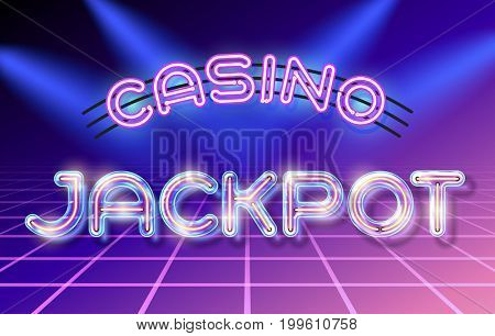 Retro neon glowing glass Casino JACKPOT lettering with transparency and shadows. 3D light bulb advertising on dark backgrounds