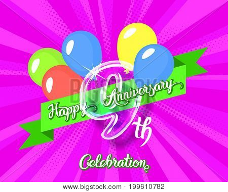 Happy 9th anniversary. Glass bulb number with ribbon and party decoration on the colorful background