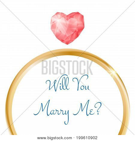 Vector engagement card. Will you marry me ring