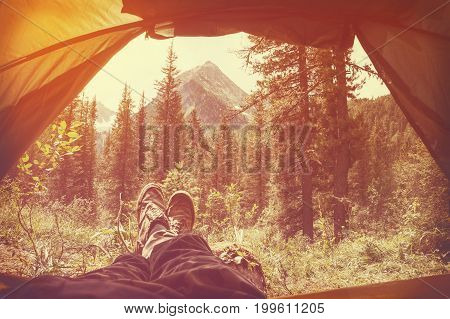 Feet Man Relaxing Enjoying Clouds Mountains Aerial View From Tent Camping