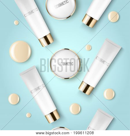 Concealer and compact foundation and a drop of the design template advertising cosmetics 3d. Top view on a blue background realistic illustration of a packaging design cream. Vector illustration