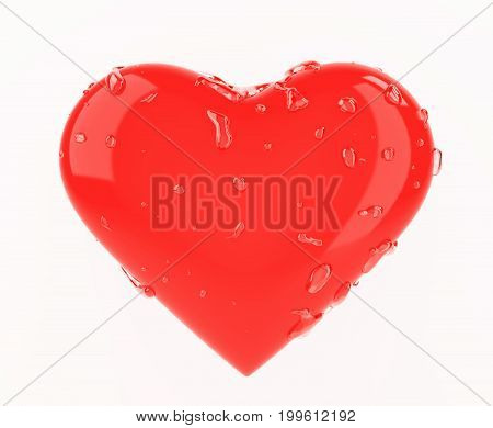 Red heart with clear water drops 3d rendering isolated on white background