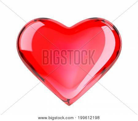 Red Glossy heart on white background 3d rendering