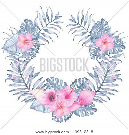 Watercolor tropical indigo floral wreath with pink calla hibiscus frangipani and leaves of indigo palm monstera. Botanical illustration isolated on white background