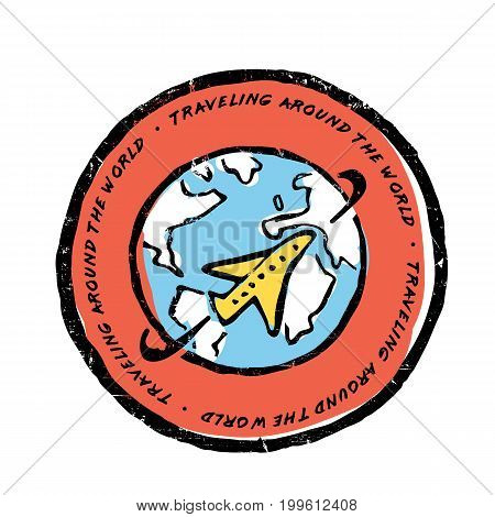 Plane flies around the earth illustration. Traveling around the world text. Round label. Blue, yellow, red colors