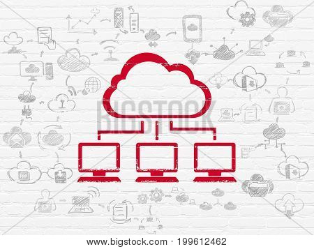 Cloud technology concept: Painted red Cloud Network icon on White Brick wall background with Scheme Of Hand Drawn Cloud Technology Icons
