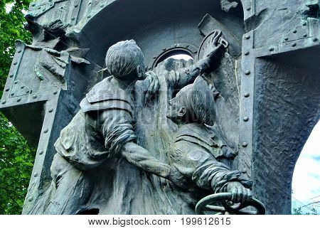 St.Petersburg, Russia-July 10, 2017: Monument to the sailors of the destroyer Steregushchy. Dedicated to the heroic death of the destroyer