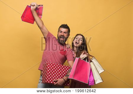 Bearded Man And Young Girl With Happy Faces