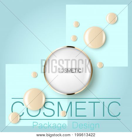 compact foundation and a drop of the design template advertising cosmetics 3d. Top view on a blue background realistic illustration of a packaging design cream. Vector illustration