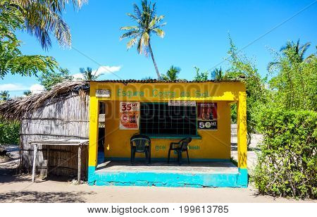 Local shop for food and drink products for sale in Vilanculos, Mozambique, Africa. February 2017