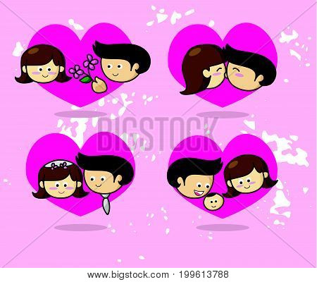 Love story Couple in love vector illustration