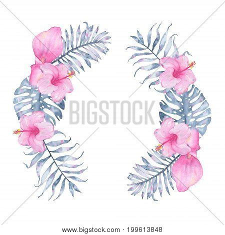 Watercolor tropical indigo floral wreath with pink calla hibiscus and leaves of indigo palm monstera. Botanical illustration isolated on white background