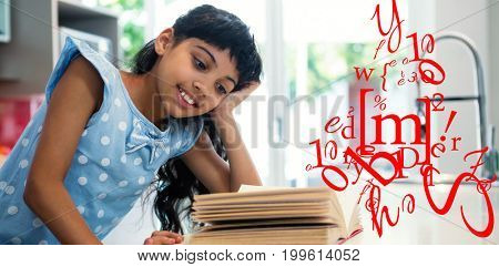 letter and number jumble against girl reading book in kitchen