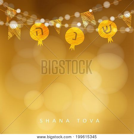Rosh Hashanah, Jewish New Year holiday greeting card, invitation with string of lights and pomegranate flags decoration, modern golden blurred vector illustration background