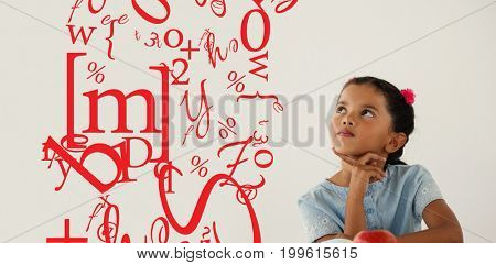 letter and number jumble against thoughtful young girl sitting