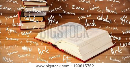 School buzzwords against open book on table