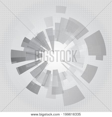 Vector abstract grey geometric technology background graphic design with gear shape and half tone effect.