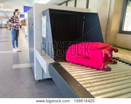 Beautiful Woman Chinese Waiting Luggage