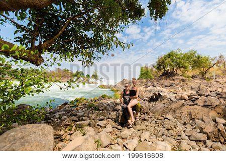 Tourists On Khone Phapheng Waterfall