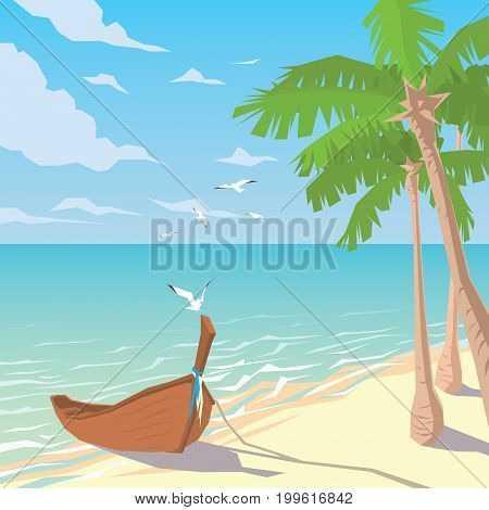 Wooden boat on sandy beach with palms. Tropical ocean landscape. Seaside. Summer sky, clouds, seagulls. Vector illustration of seascape with boat moored to coast in flat faceted style for design, articles, print.