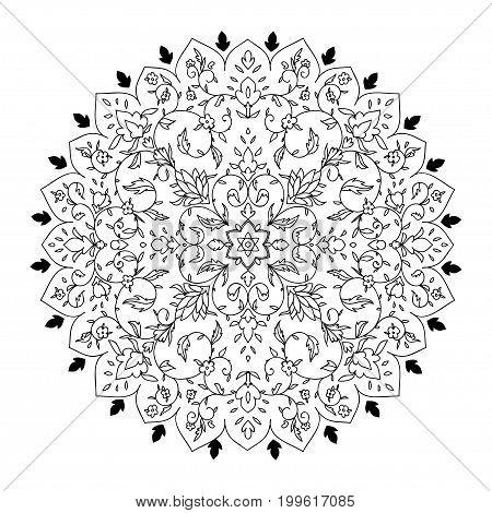Islamic floral mandala decor in Victorian style. Vector illustration. Card for cafe, restaurant, shop, print,  India, Arabic, Dubai, turkish, Islam, ottoman motifs  Save the date and greeting card