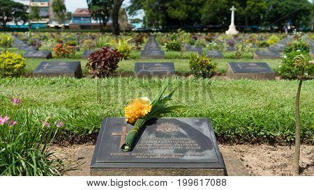 Kanchanaburi, Thailand - August 13, 2017 : Kanchanaburi War Cemetery In Thailand. The Cemetery Conta