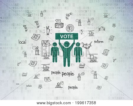 Political concept: Painted green Election Campaign icon on Digital Data Paper background with  Hand Drawn Politics Icons