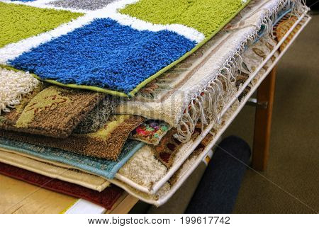 Typical surplus home decor rugs, decorating on a budget.