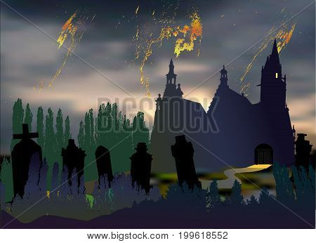Scary halloween landscape with cemetery tombstones old church and silhouettes of trees. Dark night landscape with dramatic sky clouds chapel and graves