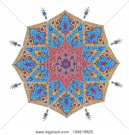 Ornamental flora invitation Card for cafe, restaurant, shop, print. Vector decorative frame. Floral border. India, Arabic, Dubai turkish Islam pakistan ottoman motifs