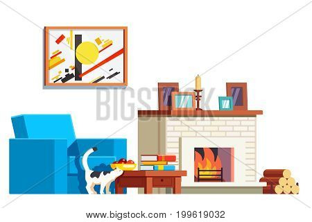 Room interior design with big armchair, fireplace and painting. Fireside burning firewood. Living room furniture. Cat standing next to coffee table. Flat style vector illustration isolated on white.