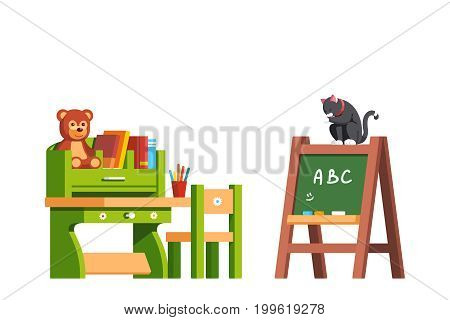 Preschool classroom interior design education desk, chair and blackboard. Kid room decoration and furniture with books, toys. Cat sitting on green board and licking. Flat vector isolated illustration.