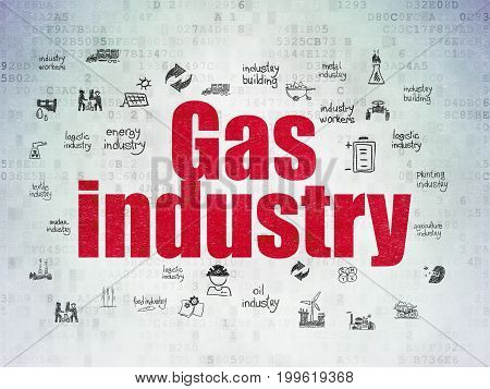 Manufacuring concept: Painted red text Gas Industry on Digital Data Paper background with  Hand Drawn Industry Icons
