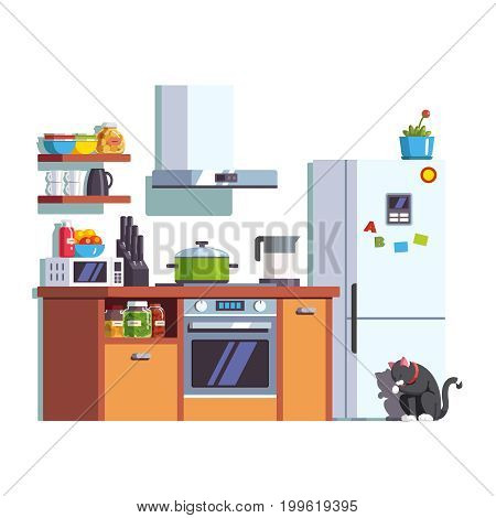 Small kitchen interior furniture with cooktop, electric oven, range hood, microwave, fridge and kettle. Utensils and food. Cat sitting near the refrigerator. Flat style vector isolated illustration.