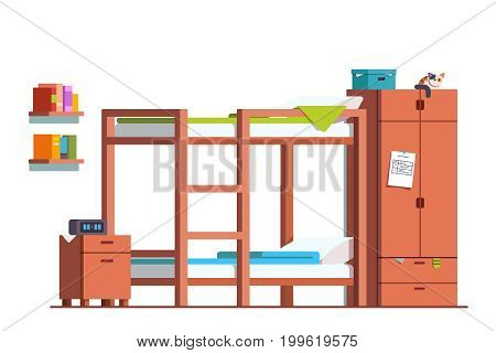 Minimalist design dormitory room interior with bunk bed, bedside table and wooden wardrobe. Teenager kid bedroom decoration and furniture. Flat style vector illustration isolated on white background.