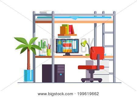 Modern dormitory bedroom interior with desk, chair, computer bunk bed. Teenager or school kid room for studying. Decoration and furniture. Flat style vector illustration isolated on white background.