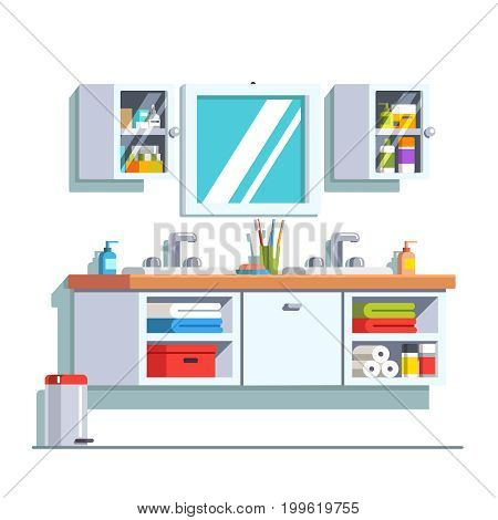 Modern bathroom interior design with double sink, hanging vanity, wall mirror and cupboard. Home shower furniture. Drawers with towels. Flat style vector illustration isolated on white background.