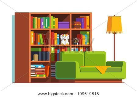 Minimalist room interior design with sofa, big bookcase full of books and standard lamp. Living room decoration and furniture. Flat style vector illustration isolated on white background.
