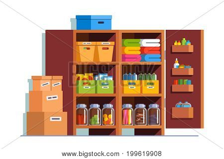 Storeroom interior design with big wooden cupboard full of boxes, glass bottles, household goods. Pantry cellar room decoration furniture. Flat style vector illustration isolated on white background.
