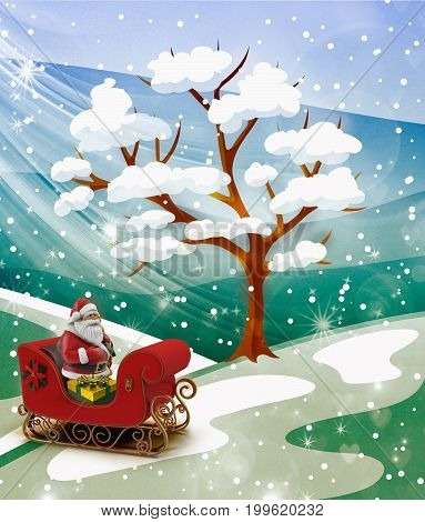 Among the snowdrifts under the tree Santa Claus in red sleigh with gifts.