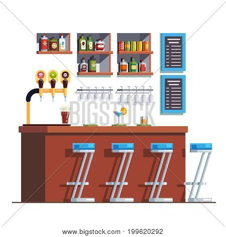 Pub interior with counter, stools, alcohol drinks and glass bottles. Restaurant decoration and furniture. Beer tap pump on bar stand. Flat style vector illustration isolated on white background.