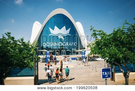 Valencia Spain - June 2 2016. People go to the Oceanographic a marine complex in Valencia Spain. Part of City of Arts and Sciences