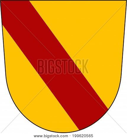 Coat of arms of Baden-Baden is a spa town in the state of Baden-Wurttemberg in southwestern Germany. Vector illustration from the