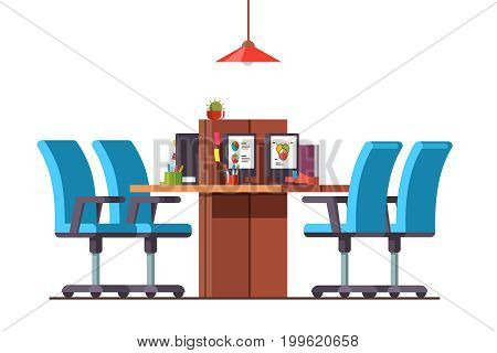 Modern minimalist open space office interior design with combined desks, desktop pc, chairs. Business company room decoration, furniture. Flat style vector illustration isolated on white background.