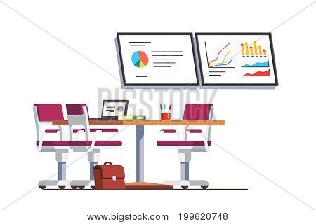 Modern business office boardroom interior design with table, chairs and presentation tv displays with graphs and charts. Conference hall or meeting room. Flat style vector isolated illustration.