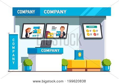 Business exhibition show product presentation, promotion booth design with company ad stand, reception counter desk, advertising screens. Flat style vector illustration isolated on white background.